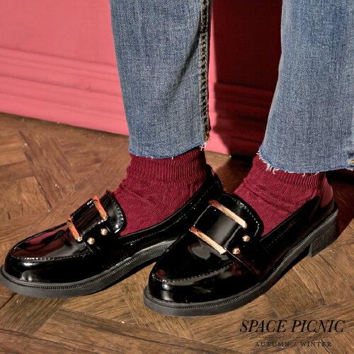 <br/><br/>  樂福鞋 Space Picnic|現+預.漆皮方型金屬樂福鞋【C17114006】<br/><br/>