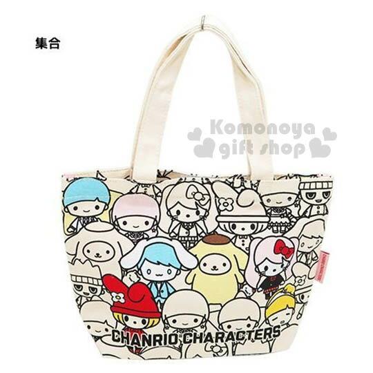 〔小禮堂〕Sanrio大集合 帆布手提袋《小.米白.多角色滿版》可愛又實用