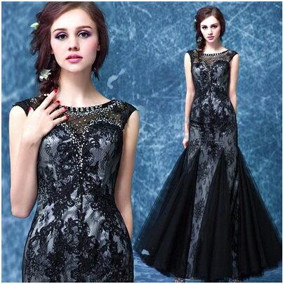天使嫁衣【AE9081】黑色鑽飾美胸高貴蕾絲魚尾晚禮服˙預購訂製款