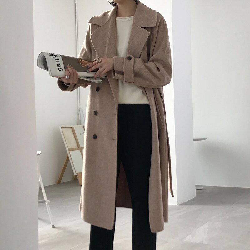 毛呢大衣羊毛外套-雙排扣繫帶寬鬆長版女外套73wb35【獨家進口】【米蘭精品】 1