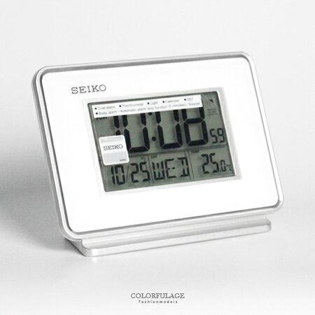 日本品牌SEIKO精工白色電子式鬧鐘 冷光液晶顯示大字座鐘 居家美學 柒彩年代【NV1704】原廠公司貨 - 限時優惠好康折扣