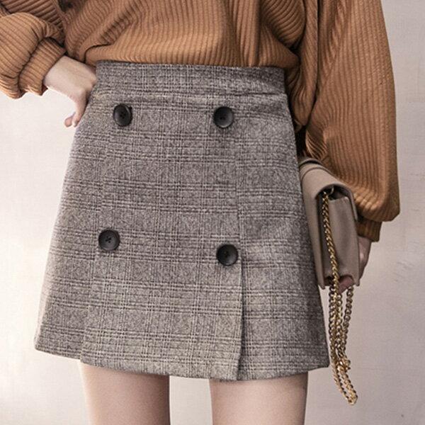 小豬兒 Mini Jule:褲裙四釦打摺格紋後拉鍊褲裙小豬兒MiNiJule【CUF72006816】