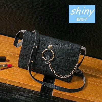 【P114】shiny藍格子-小巧時尚.春季新款鏈條手機單肩斜挎包
