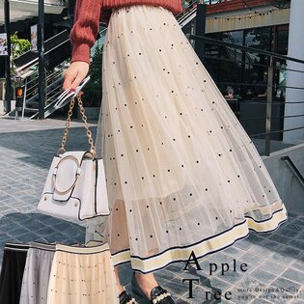 蘋果樹AppleTree:AT日韓-韓國,小點點織帶裙襬網紗長裙3色【801005】