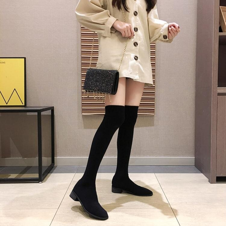 長筒彈力襪靴女新款秋冬加絨不過膝長靴高筒粗跟尖頭靴子冬