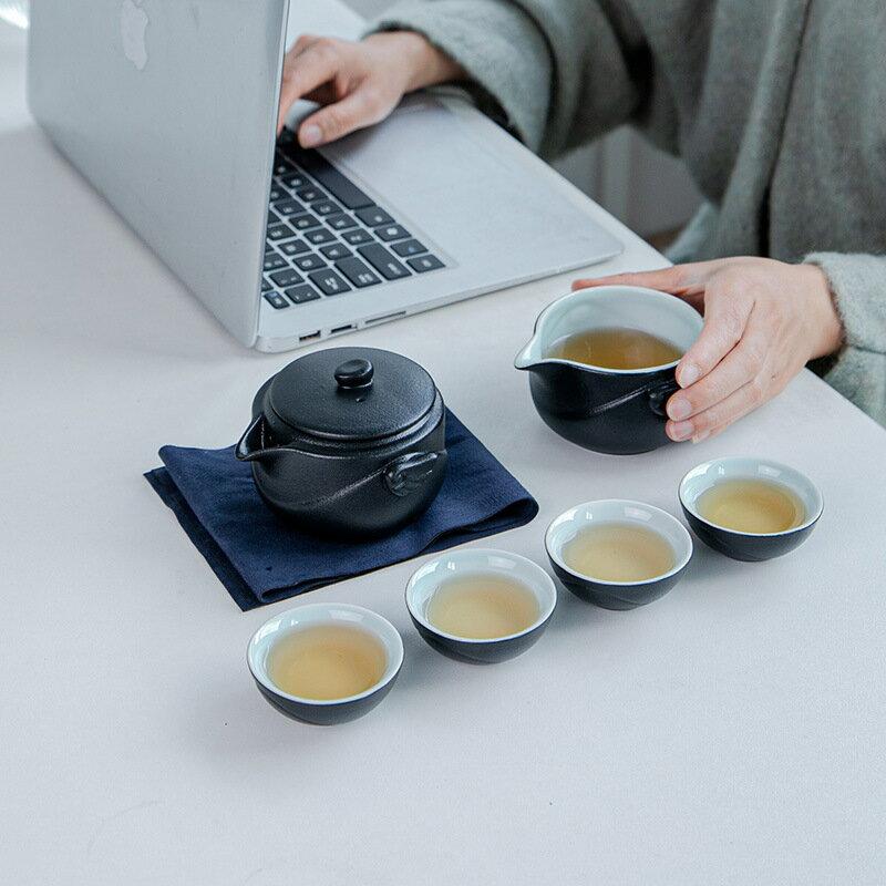 創意黑陶旅行茶具陶瓷快客杯便攜式功夫禮品茶杯