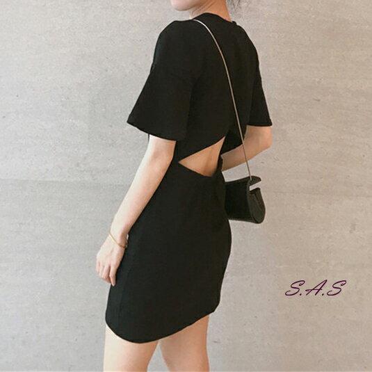 新款韓版純色露腰洋裝 後露背心機洋裝 露腰洋裝 性感洋裝 女神洋裝 素色洋裝 連身裙 露背連衣裙 382