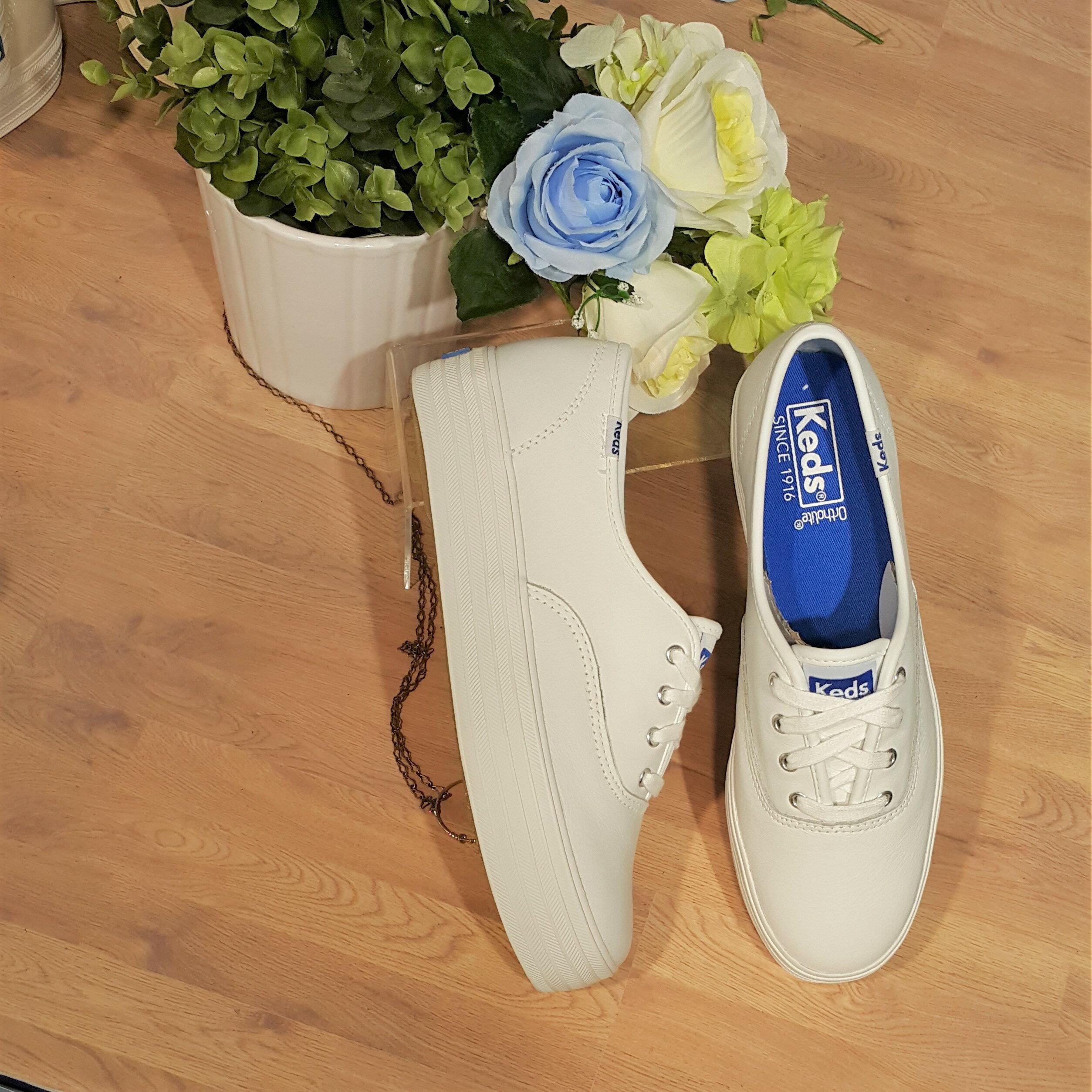 Keds 厚底 白色 全白 皮革 荔枝紋 基本款 防潑水 小白鞋 3公分 增高 經典款 WH55748