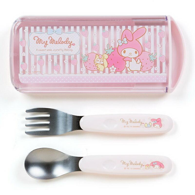 【真愛日本】150822000072入餐具組-草莓條紋粉  三麗鷗家族 Melody 美樂蒂  餐具  日用品