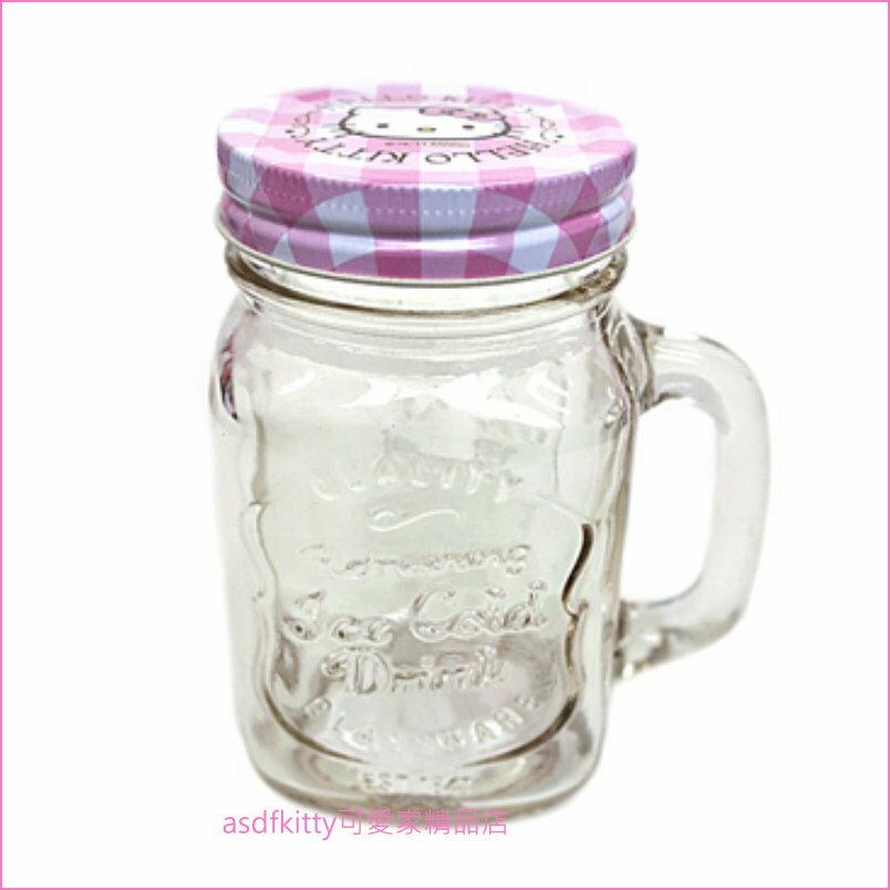 asdfkitty可愛家☆KITTY粉格有蓋透明玻璃杯/梅森瓶-可當水杯.飲料杯.沙拉罐.儲物罐-韓國正版商品
