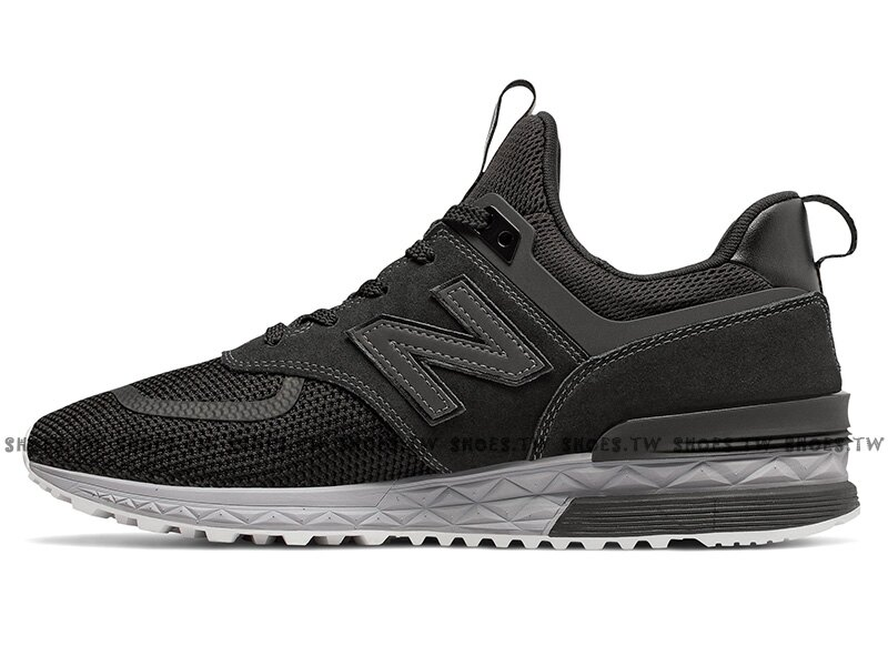 Shoestw【MS574UTB】NEW BALANCE NB574 慢跑鞋 麂皮 網布 小紅標 黑色 男生尺寸 1