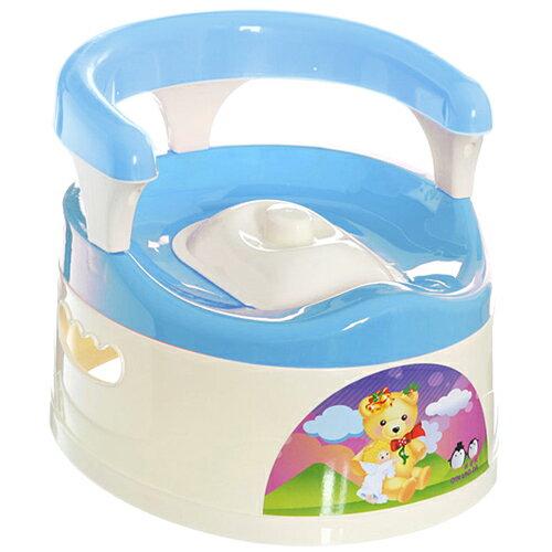 【NG福利品】貝比 抽屜式附椅背幼兒學便器-藍色(MJ0515B)