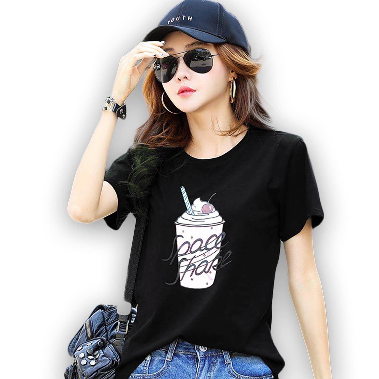 短袖棉T--休閒生活酷暑清涼飲料印圖圓領短袖T恤(黑、綠M-3L)-T357眼圈熊中大尺碼 0