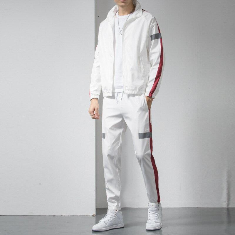 新款兩件套春秋季休閒運動服套裝男銀光反光條潮流百搭休閒套裝男