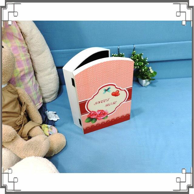 皮革KEY BOX《LK4-2》鄉村玫瑰木製皮革鑰匙盒 收納盒 壁櫃 壁飾 鄉村風家飾◤彩虹森林◥