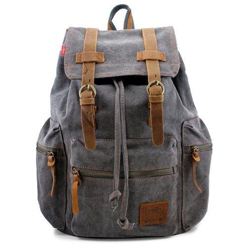Men's Outdoor Sport Vintage Canvas Military BackBag Shoulder Travel Hiking Camping School Bag Backpack - Gray 0