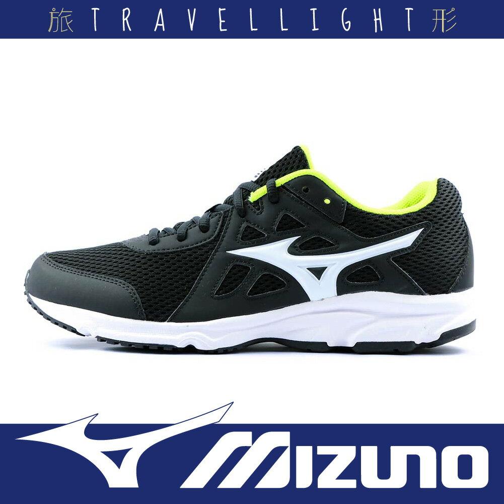 【MIZUNO 美津濃】SPARK 2 男慢跑鞋 學生鞋 舒適 輕運動 舒適 透氣 柔軟 黑黃色 Travellight旅形