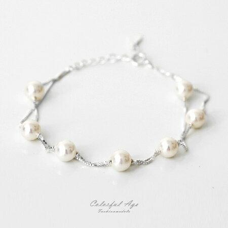 925純銀手鍊 珍珠雙鏈雙層 甜美視覺佩戴舒適 腕上增添美感 柒彩年代~NPA18~