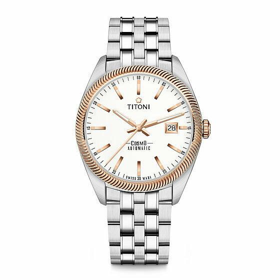 TITONI瑞士梅花錶 宇宙系列 878SRG-606 經典羅馬腕錶/銀x玫瑰金 41mm