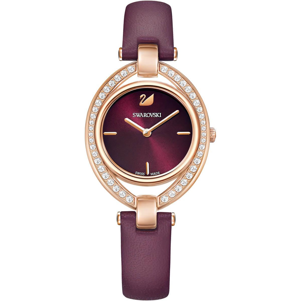 SWAROVSKI 施華洛世奇 STELLA 晶鑽腕錶 5376839 酒紅 / 29X35mm 0