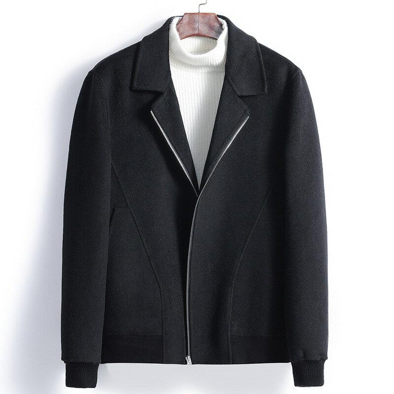 毛呢大衣短款夾克-翻領休閒修身羊毛男外套3色73wk33【獨家進口】【米蘭精品】 2