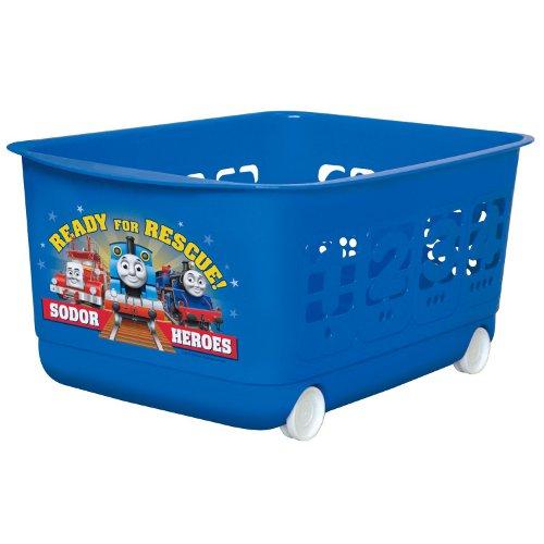 【真愛日本】17083000019 滾輪收納籃-數字藍 三麗鷗 湯瑪士小火車 玩具置物車 玩具收納車