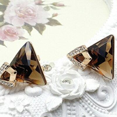 ~玫瑰金耳環925純銀鑲鑽耳飾~華麗水晶三角 生日情人節 女飾品3款73gs5~ ~~米蘭