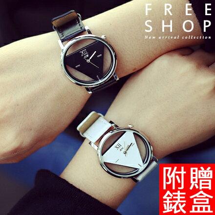 手錶 Free Shop【QFSGS9123】情侶款 韓國潮流時尚三角形造型雙面鏤空皮帶款石英男女中性款對錶手錶