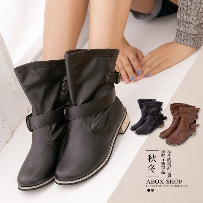 格子舖*【KS8809】ELVA兩穿百搭 可反摺皮革 皮帶扣環 金屬低跟短筒靴 兩色