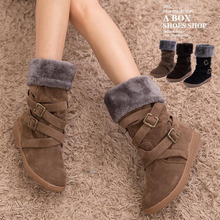 格子舖*【KS1301】嚴選寒冬絨毛溫暖內裡  兩穿式金屬雙鈕扣拉環中筒短靴雪地靴 3色 0