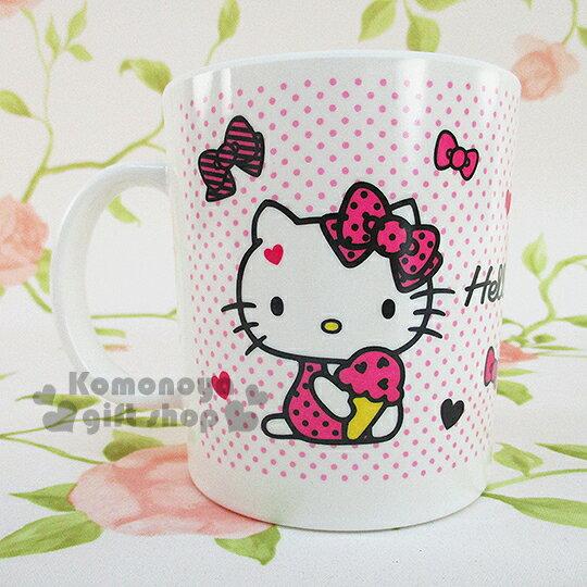 〔小禮堂〕Hello Kitty 美耐皿馬克杯《白底.粉點點.多蝴蝶結.拿冰淇淋.盒裝》不可微波