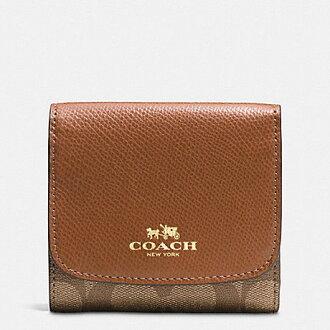 【蟹老闆】COACH 國際精品 大c緹花皮革 燙金logo 多卡短夾/小錢包 含零錢袋 駝色 F53837