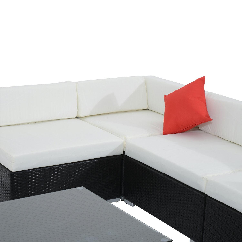 Outsunny 7 Piece Outdoor Patio Rattan Wicker Sofa Sectional Set - Cream 4