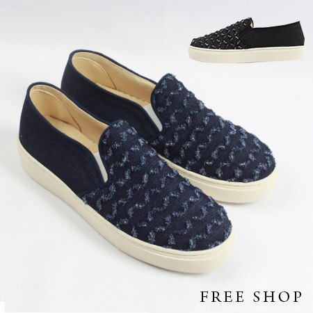 ~全店399 ~Free Shop~QSH0278~日韓風格立體波紋抽鬚 低筒休閒鞋懶人鞋