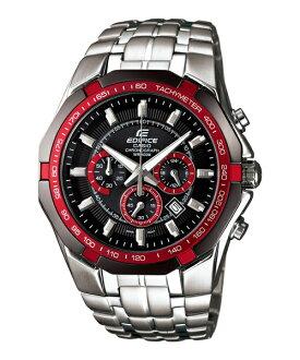 CASIO EDIFICE EF-540D-1A4耀紅三眼運動計時腕錶/黑面45mm