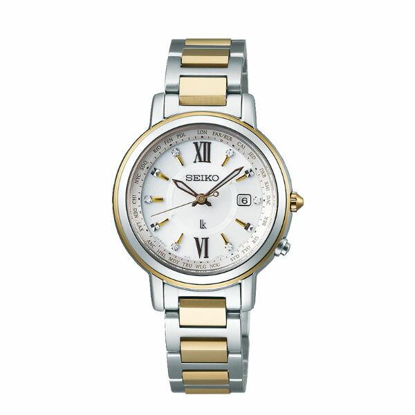 Seiko精工錶Lukia系列1B21B25-0AV0G(SSQV032J)萬年曆太陽能電波腕錶-金31mm