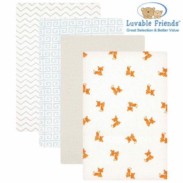 美國 Hudson Baby/Luvable Friends 嬰幼用品 寶寶包巾/嬰兒包巾 (四件組) - 小狐狸
