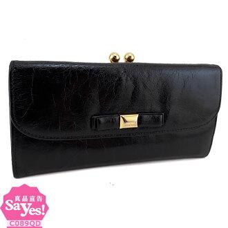 【奢華時尚】MIU MIU 黑色復古牛皮對折硬盒長夾(八成新) #21235
