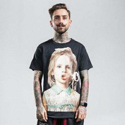 短袖T恤休閒上衣-純色棉質女孩頭像男裝2色73qx52【獨家進口】【米蘭精品】 1