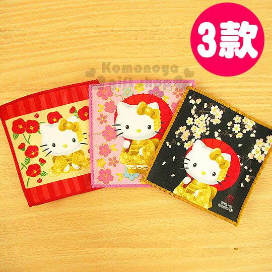 〔小禮堂〕Hello Kitty 日製極細纖維杯墊《3款.正方形.金和服》