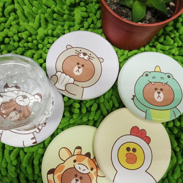 【LINEFRIENDS獨家授權】JUNGLE彩繪系列杯墊~~偽裝在可愛動物裡的熊大與莎莉快來收服他(一組=2入相同款式)