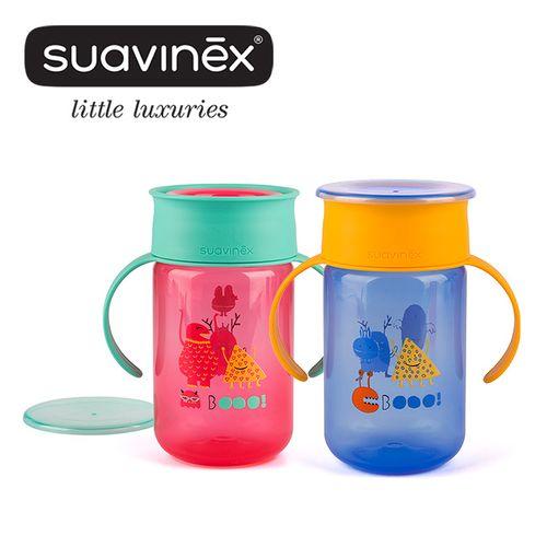 西班牙Suavinex小怪獸360度水杯(240ml)+12M(藍粉)★衛立兒生活館★