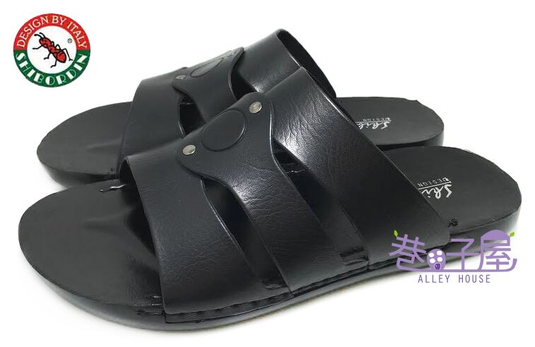 【巷子屋】SHIBORDIN喜伯登 紅螞蟻 男款經典Q底休閒拖鞋 [9103189] 黑 超值價$198