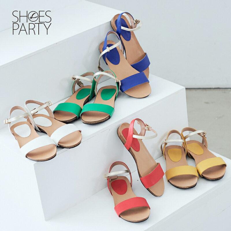 【S2-17326L】服貼牛皮底單色涼鞋_Shoes Party 0