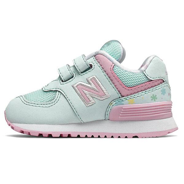 Shoestw【IV574KCS】NEW BALANCE NB574 運動鞋 黏帶 小童鞋 Wide 淺綠粉 小花 1