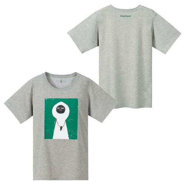 【【蘋果戶外】】mont-bell1114177女款淺灰白い山男Wickron短袖排汗衣排汗T恤機能衣