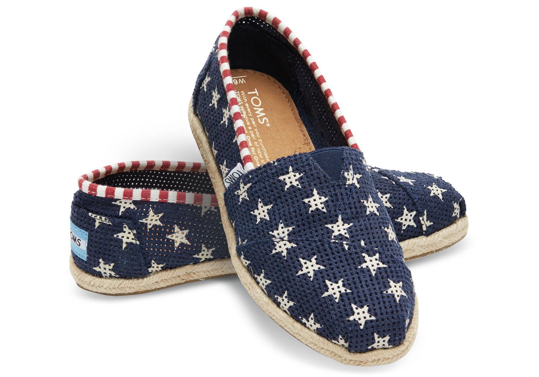 [女款] 國外代購TOMS 帆布鞋/懶人鞋/休閒鞋/至尊鞋 亞麻系列 深藍星星網孔亞麻底 0