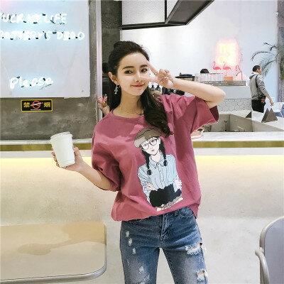 韓系女裝圓領寬鬆美女印花短袖T恤樂天時尚館。預購
