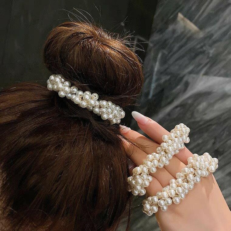 珍珠髮飾大腸圈(一組2個)-超仙網紅扎頭髮飾/丸子頭珍珠髮飾/婚禮髮飾
