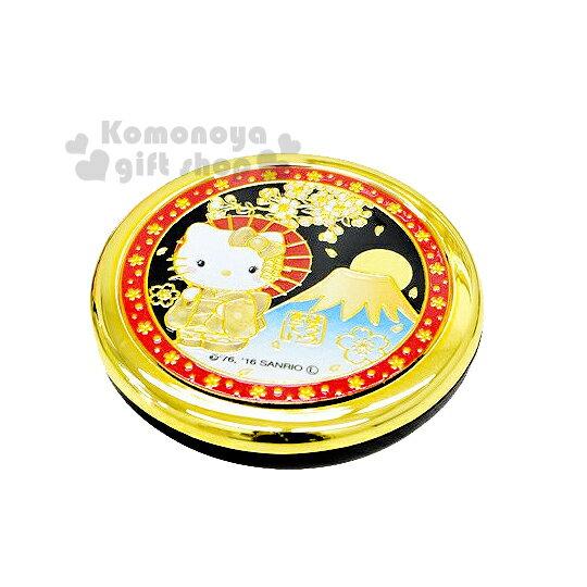 〔小禮堂〕Hello Kitty 日製圓形折疊鏡《金紅黑.站姿.和服.富士山》濃濃日系和風